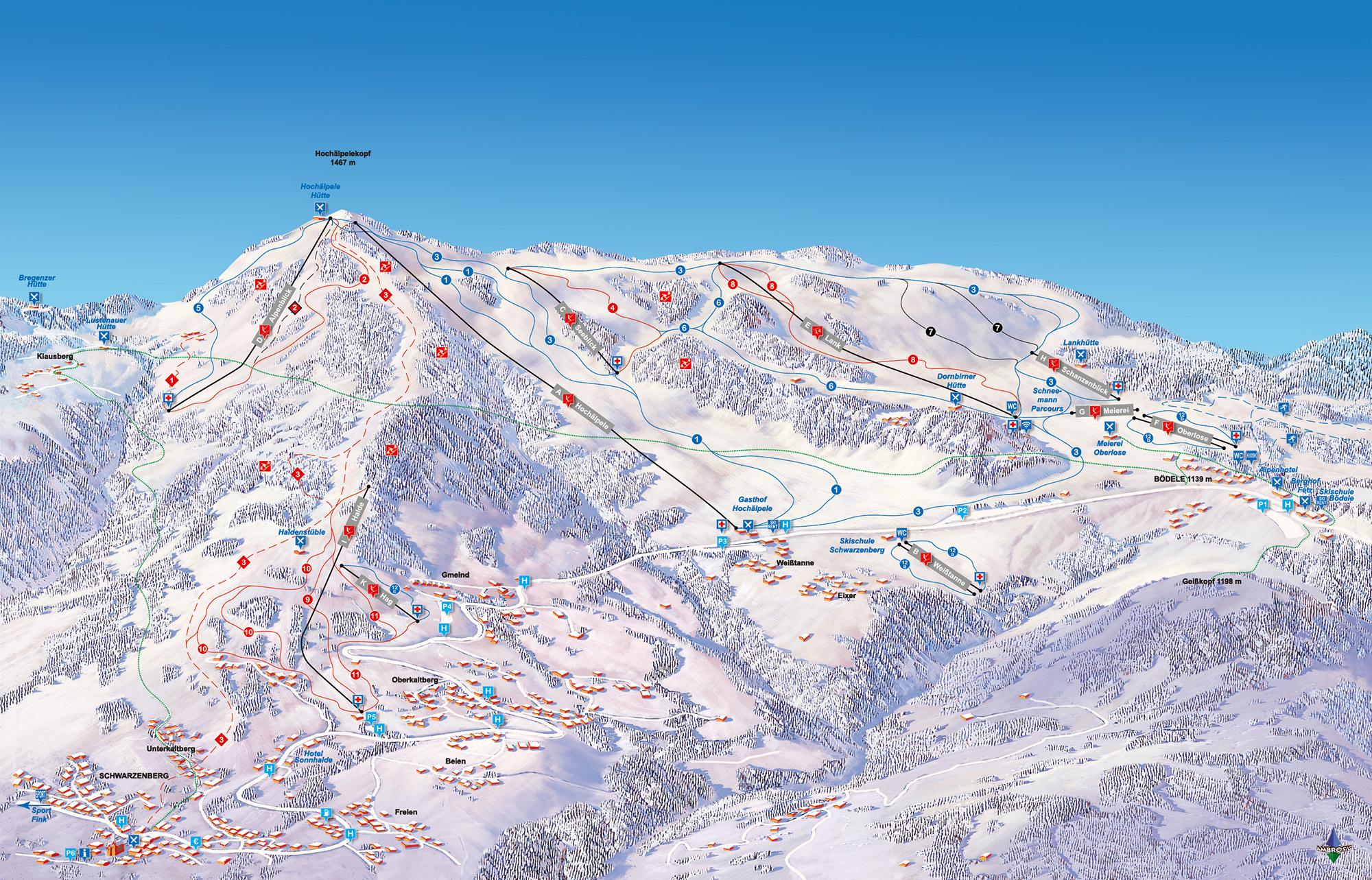Pistenplan und Übersichtskarte vom Skigebiet Bödele